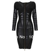 Newest Unique Design Front Zipper Sexy Black Jacquard Mid-long High-end HL Bandage Dress Bodycon Dress Factory Dropshipping