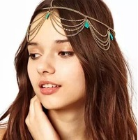Min. orde is 9usd Fashion Green gems normic turcos pendant decoration ribbon hair accessory TS119
