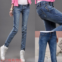 2014  new Women's spring and autumn plus size thickening wearing white casual fashion pencil jeans