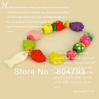 2014NEW Turquoise wooden fish bracelet  acrylic  color bracelet Free shipping 12pcs/lot