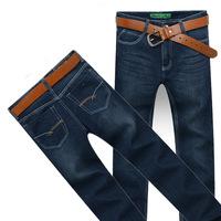 2014 New Fashion Men's Pants Wholesale New Design Dark Blue & Light Blue Straight Men's Jeans Male Fit Pants + Free Shipping