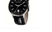 New Men's Black Leather Watch Black Dial Wristwatch AR2411