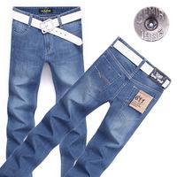 2014 New Fashion wholesale Slim Jeans Blue Color Men's Straight Denim Pants Fit Brand Men's Trousers + Free Shipping