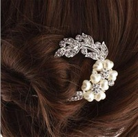 2014 hot selling fashion crystal pearl hair sticks for women,girl's elegant brief hair jewelry,silver plated hair accessiries