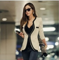 2014 New Fashion Winter Women Slim Blazer Coat Casual Jackets Long Sleeve V-Neck Black White One Button Suit OL Outerwear KR183
