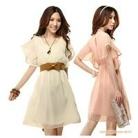 free shipping 1019 Classic summer women lace decoration vintage chiffon dress with belt