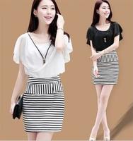 free shipping 8029 Summer women elegant plus size slim hip ol short-sleeve stripe dress with necklace