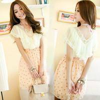 free shipping 989 Summer women's elegant dot V-neck laciness chiffon dress 2014