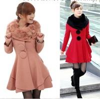 free shipping 2013 autumn and winter rabbit fur big skirt woolen outerwear medium-long cashmere woolen overcoat female