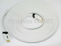 High  Speed 7.5M  HDMI Cable with Ethernet Male to Male 1.4V 3D  HD Full 1080P GOLD high quality   Ivory Flat 10M