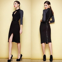 Free Shipping Victoira Stretch Cotton Back Zipper Half Sleeve Pencil  Dress 140121W01