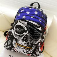 2014 Fashion Printing Backpack Men Pirate Skull Backpack Mochilas Women Canvas School Bag for Teenage Girl Big Laptop Bag Bolsa