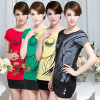 spring summer plus size women short-sleeve t-shirt / women clothing loose o-neck women shirt Free shipping