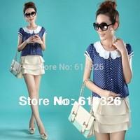 2014 New Spring Summer Women Chiffon Shirts Fashion Short Sleeve Polka Dot Plus Size Blouse Elegant Women Clothing