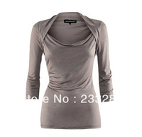 New winter crop shoulder wrap swing bottoming shirt 3 colors women's t-shirts Q158