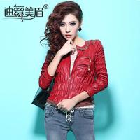 2014 spring fashion vintage zipper handsome slim o-neck PU motorcycle clothing female short jacket  h15