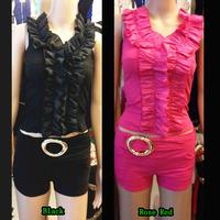 Womens Sexy Hot Clubwear 2 Piece Bodycon Top & Shorts Falbala Petal Sleeveless Mesh Top Tight Shorts Two Piece 2014 For Women