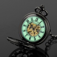 INFANTRY Men's  Vintage Luxury Mechanical Hand Winding Black Steel LUMINOUS Pocket Watch With Chain NEW Pendant Necklace 2014