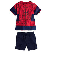 Free shipping+wholesale! 6 sets / lot. Boy leisure summer suit. New Children's outfit (T-shirt+jeans). Children's cartoon suits.