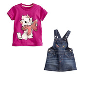 Free shipping+wholesale!6 sets/lot.Girl leisure summer suit.Children's outfit (T-shirt & harness jeans).Children's cartoon suits