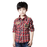 Children's clothing 2014 spring long-sleeve 100% cotton child shirt male child plaid shirts 9 - 10 boy top