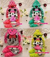 [E-Best] 4sets/ lot Spring New Arrival! Cartoon Minnie clothing set Hooded sweatshirt /shirt+pants 2pcs set tracksuits ST025