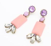 Min order is $10(mix order)European&American STUD earrings RHINESTONE WOMEN EARRINGS PINK arcylic crystal stud earrings