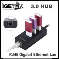 dodocool 3-Port USB 3.0 Hub with 1 RJ45 Gigabit Ethernet Lan Wired Network Adapter