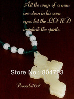 2014 New Original Design white Jade cross pendant jewelry gifts in the Lord Jesus  free shipping