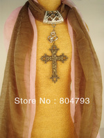 2014NEW  cross Charms double Pendant scarf mix 2color  Free shipping 2pcs/lot 2 style