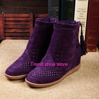 Original latest Isabel Marant Genuine Leather Height Increasing women motorcycle boots tassels style  Free Shipping
