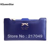 Kqueenstar 2014 bow plug-in women's long design wallet brand Clutch Case Purse female Hand Bags girls wallet card holder