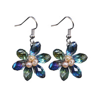 Earrings female accessories fashion flower pearl crystal earrings handmade