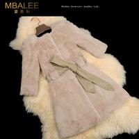 EMS Free shipping 2014 new winter rex rabbit hair fur women's medium-long slim three Quarter sleeve real fur  coat (M--XXXL)
