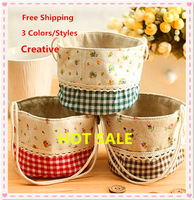 Free Shipping New Zakka Cotton & Jute plaid fabric Rural countryside Floral Storage Basket Bag Small pouch 3 Styles