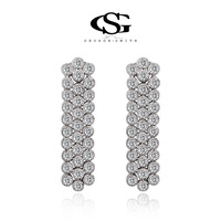 G&S Free Shipping Summer Gift Swiss CZ Platinum plated silver fashion/luxury Drop Earrings For Women Party Wedding 1020022960