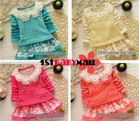 [1st baby mall] Retail 1pc baby girls princess dress long sleeve pearl crochet girls spring TUTU dress girls outfits 4 colors