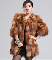 Pure natural silver fox fur coat V-neck medium-long fifth sleeve fur coat long women Y9P4