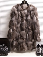 2014 new winter women's 100% real natural fox fur wool patchwork long design fur coat small O-neck Customized WTP2