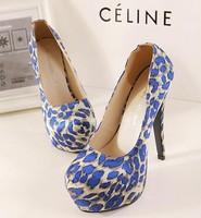 2014 spring new fashion women pumps mesh platform thin high heels shoes A091 sexy 14cm pumps leopard blue coffee ladies shoes