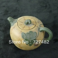 shipping free  green dark-red enameled pottery teapot,   old