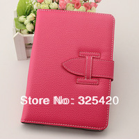 Luxury famous brand PU leather H belt clip smart case cover for ipad mini 1 / 2 Retina leather case with handheld band, 6 color