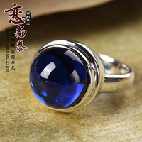 New year 925 pure silver thai silver blue corundum ring fashion exaggerated ring blue women's