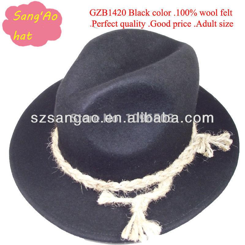 Black Trilby Hat With Brim