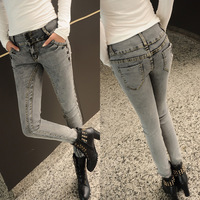 2014 spring women's fluid jeans long trousers casual elastic pants slim skinny pants