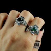 925 pure silver bangkok silver garnet dollarfish thai silver ring vintage female finger ring