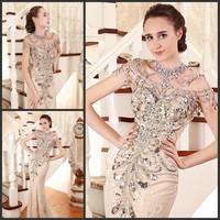 Luxury crystal formal dress formal dress toast the bride married formal dress evening dress xj11258