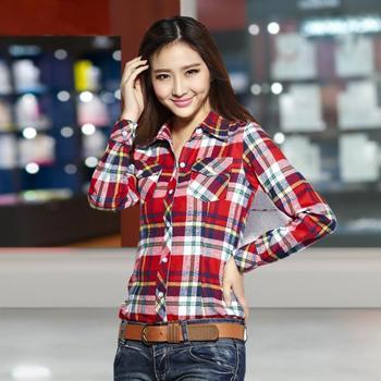 ... Lattice Shirt Girl Long sleeve Jacket Women's clothing 12 Color M-XXL