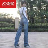 2013 autumn and winter plus size casual suspenders trousers jumpsuit denim jumpsuit bib pants female