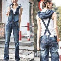 Bib pants female trousers 2014 denim bib pants with a hood bib pants zipper loose